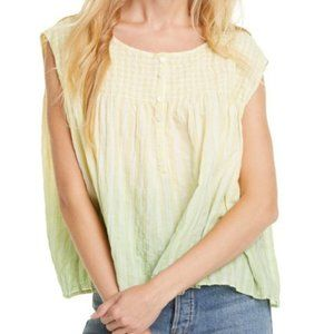 FREE PEOPLE Yellow Green Cotton Ombre Blouse